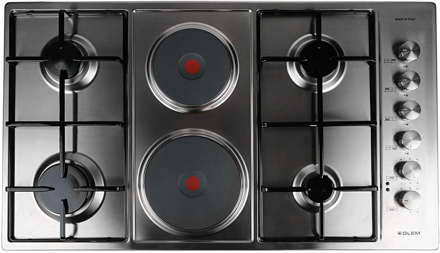 Picture of Glem Electric Gas 6 Burners, 6 Hobs, 90 Cm, Black, P9Lvci