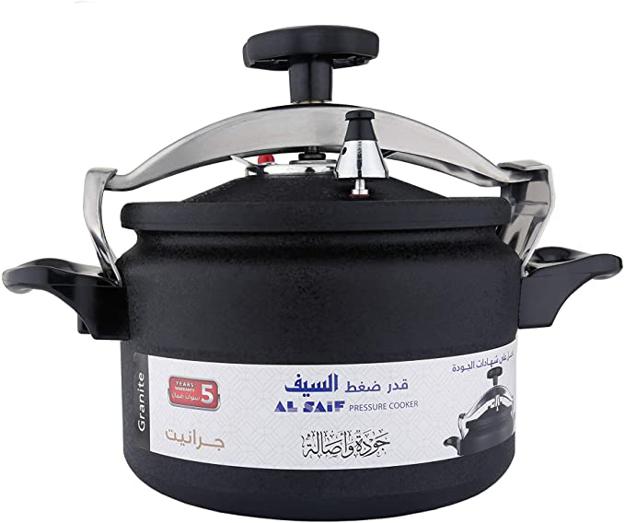 Picture of Al Saif K97007/BK Aluminium Pressure Cooker, 7 Liter, Black