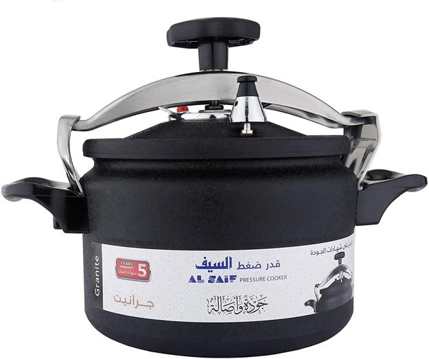 Picture of Al Saif K97009/BK Aluminium Pressure Cooker, 9 Liter, Black