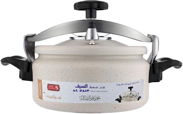 Picture of Al Saif K98806/PW Granite Pressure Cooker Short Height, 6 Liter, Granite Pearl White
